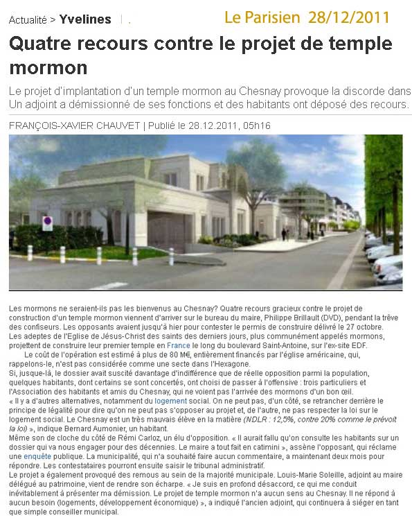 Au chesnay le temple mormon de paris ensemble for Permis de construire recours gracieux